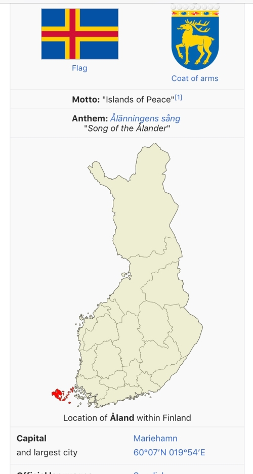 Map of location of Åland in Finland.