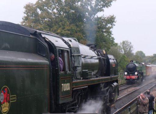 """Two """"Giants of Steam"""": Britannia"""" (left) Mayflower (right). Bluebell Line, October 2019."""