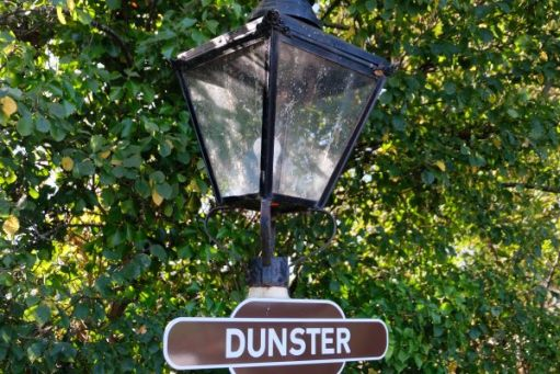 West Somerset Railway - lamp at Station Sign at Dunster.