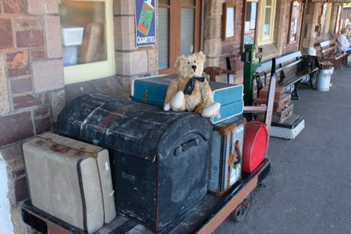 West Somerset Railway - Bertie sat on a luggage trolley at Dunster Station.
