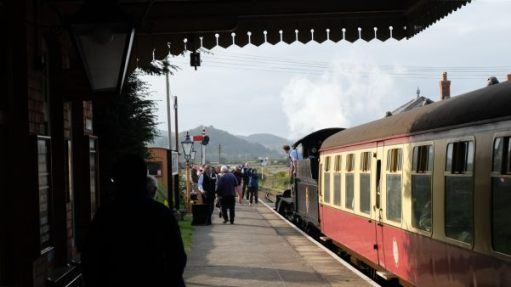 West Somerset Railway: Train at Blue Anchor station.