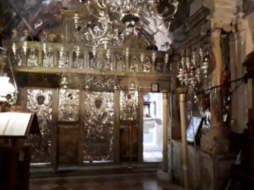 The ornate interior of the monastery in Paleokastritsa.