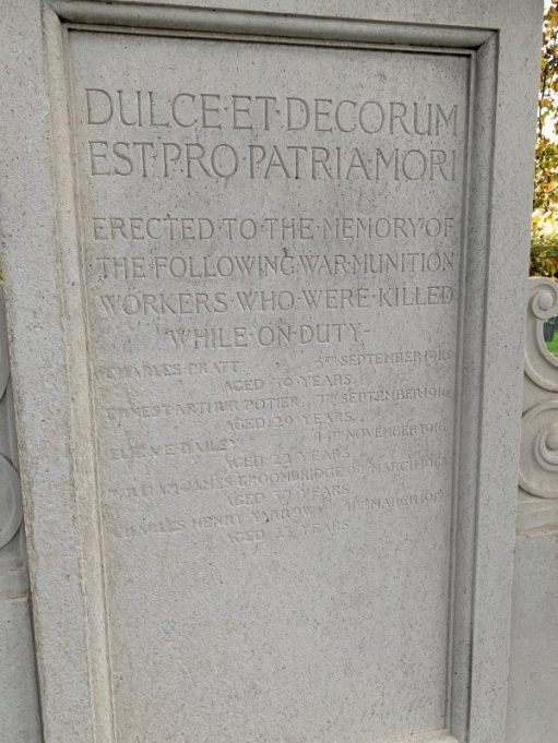 """Close up of the text on the memorial: """"Erected to the memory of the following war munition workers who were killed while on duty"""". The names are unclear, but ages listed - top to bottom - 39 years, 29, 22, 37 and 23 years."""