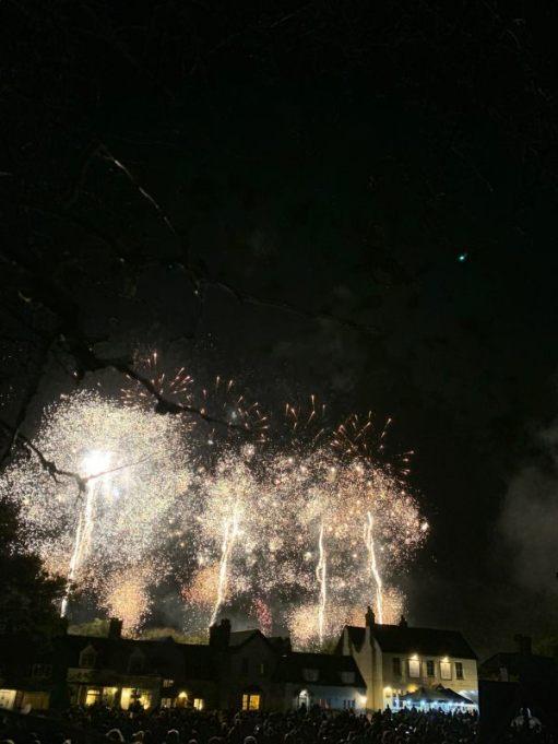 White fireworks over Brockham.