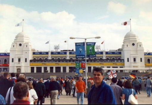 The old Wembley, complete with twin towers, where the Three Lions played their games.