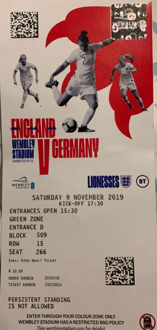 Englad v Germany Women's match ticket. Saturday 9 November 2019.