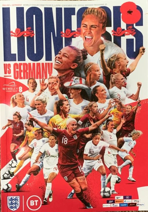 Programme for the Lionesses match against Germany.