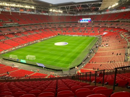 A near empty Wembley Stadium.