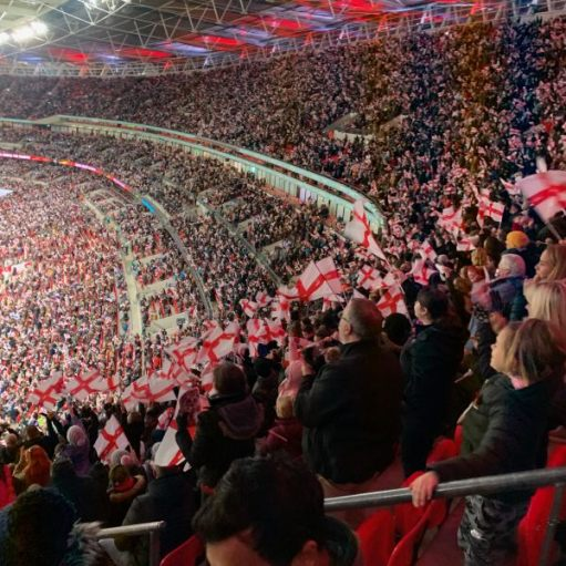 A packed Wembley Stadium supporting the Lionesses.