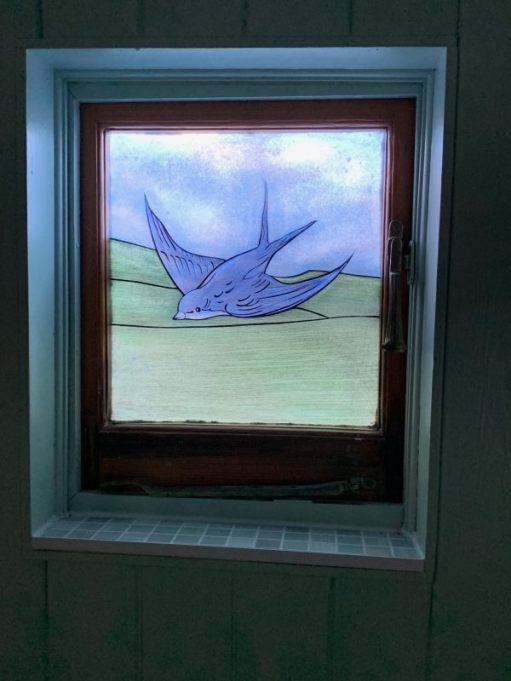 The wonderful bluebird window. Designed by Bobby.