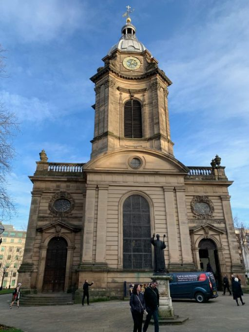 The clock and bell tower of St Philip's Cathedral, Birmingham.