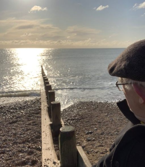 Bobby sat on a groyne in Worthing, looking out to sea.
