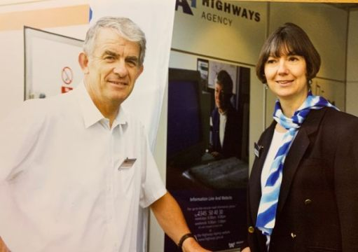 A younger Bobby and Diddley at a Highways Agency stand.