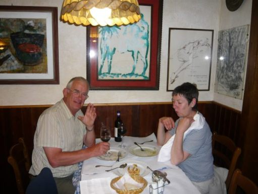 Bobby & Diddley enjoying a meal together in an Italian restaurant.