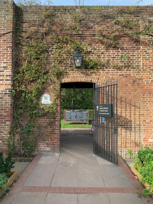 The archway between the Café and Morden Hall Park itself.