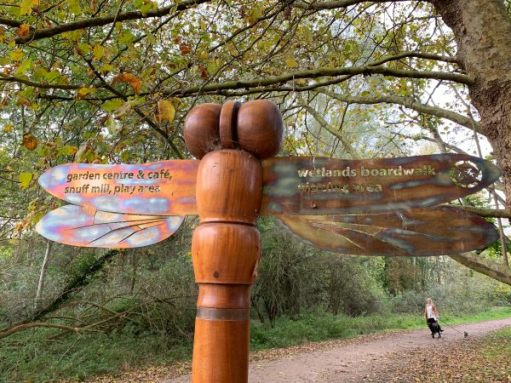 Wooden signpost made to look like a dragonfly. The wings to the right are pointing to the boardwalk.