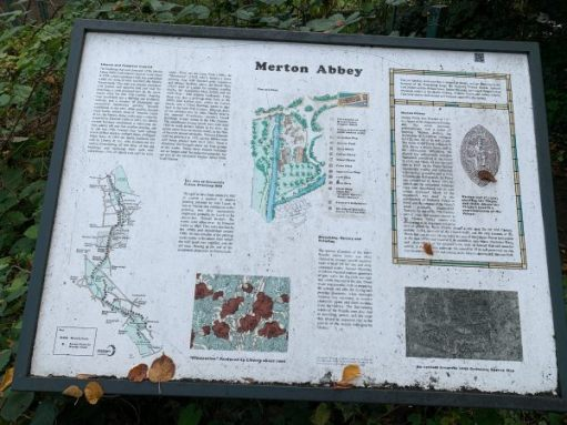 Interpretation board for Merton Abbey.