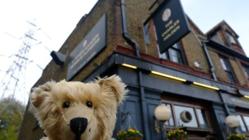 Bertie outside the Charles Holden Pub at