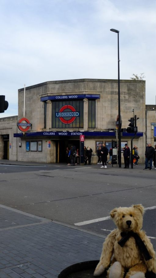 Bertie posing outside Colliers Wood Underground Station.