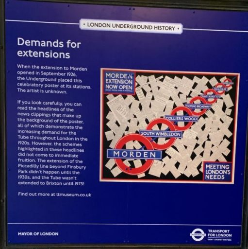 Poster detailing some of the history of the Northern Line extension.