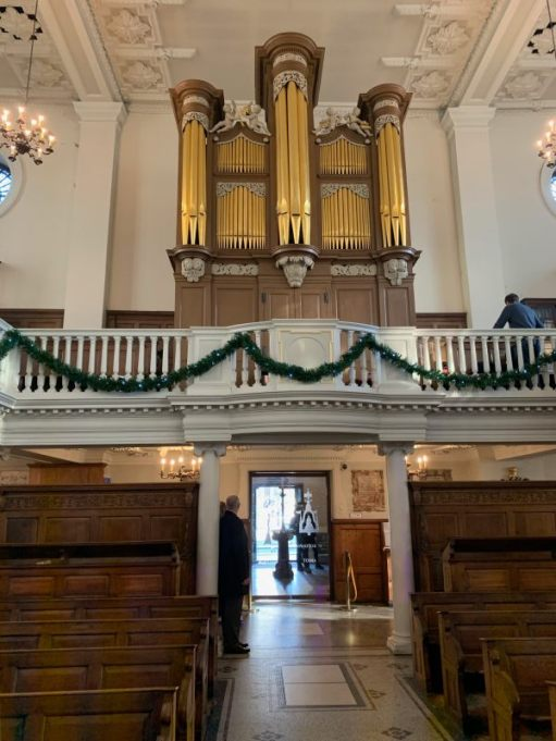 St Botolph without Aldgate. The oldest complete church organ in the United Kingdom. Returned to its 1744 specification.