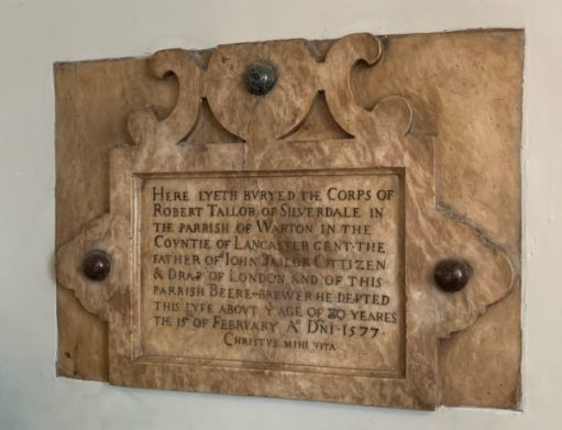 Burial Stone for Robert Tailor of Silverdale.