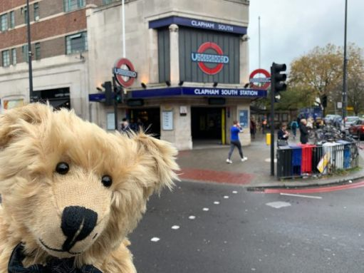 Bertie posing outside Clapham South station.