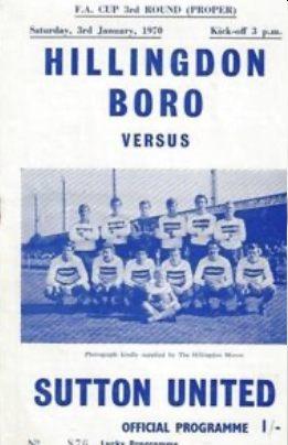 Official Programme Hillingdon Boro vs Sutton United. Saturday 3 January 1970.
