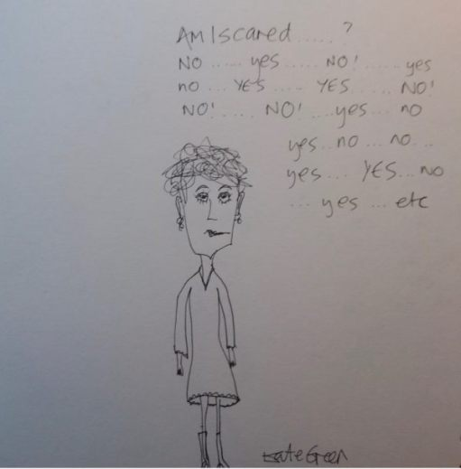 "Drawing of a women entitled ""Am I scared"", with the words ""yes"" and ""no"" written several times all over."