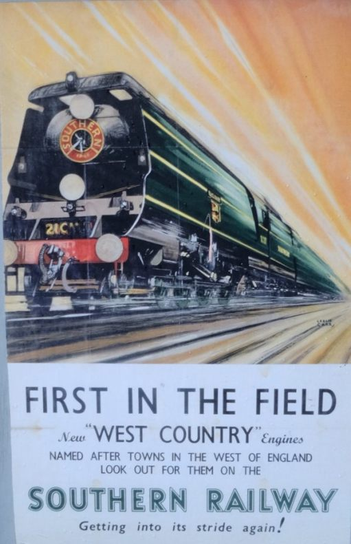 "Poster advertising the new Southern Railway streamlined ""West Country"" locomotives."