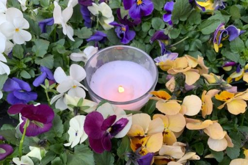 A tealight candle in a glass holder amongst colourful spring flowers lit for Diddley.