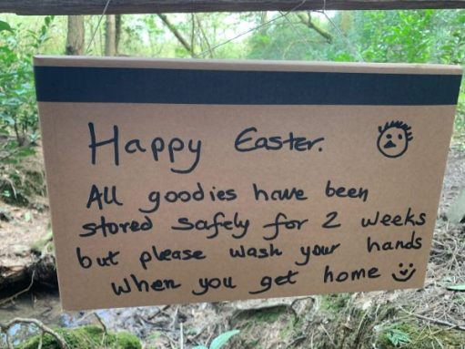 Happy Easter: All goodies have been stored safely for 2 weeks, but please wash your hands when you get home.