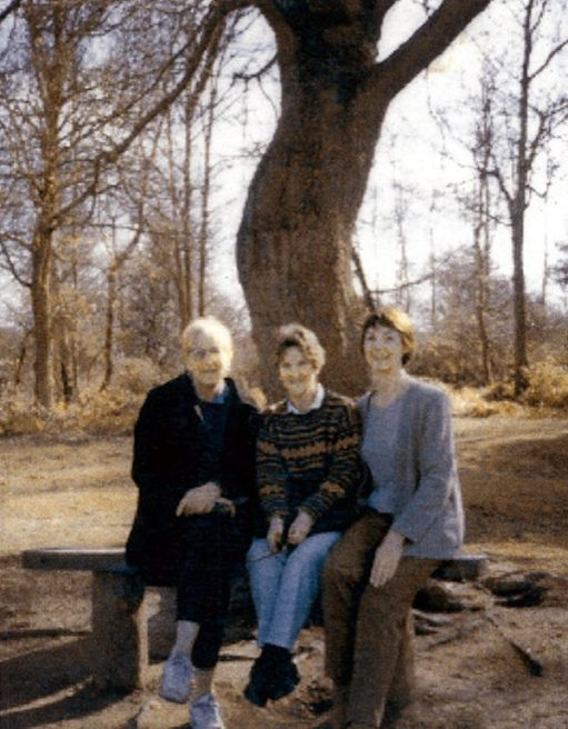 "This picture is not included for its photographic reproduction, but for what it represents. Go back to the picture with the caption: ""This blog was written on this seat."" You will recognise the distinctive trunk of the tree. Diddley lived in Laurel Cottage before Bobby. Here you see Sue, Angie and Diddley in 1995 on that very seat. Friends reunited, who grew up in the Cotswolds together. Taken 25 years ago."
