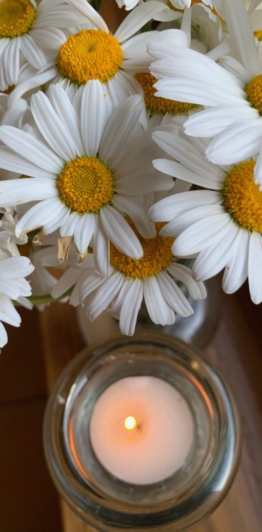Lighting a candle for Diddley - a lit tea-lite in a glass holder amongst some Moon Daisies.