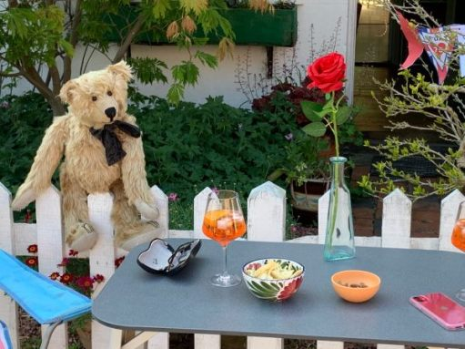 Bertie sat on a white picket fence looking longingly at a table which has a glass of Pimms on it, along with some nibbles and a single red rose in a vase. And Bobby's glasses!