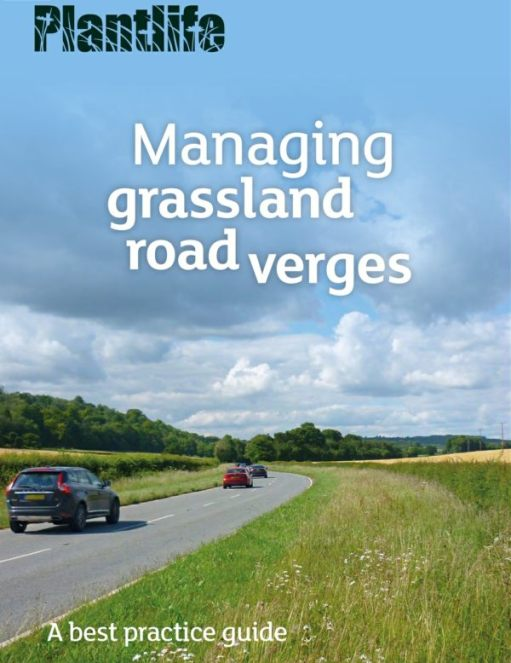 """Front cover of the Plantlife """"Best practice to managing grassland road verges""""."""