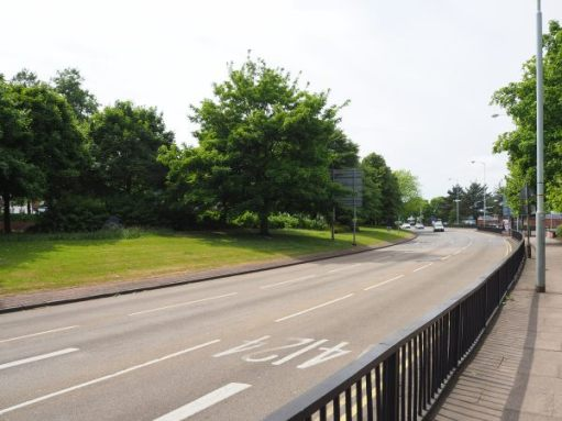 Wolverhampton Ring Road and expanse of central reservation.