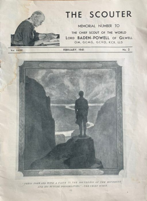 "Part of the tribute to Baden-Powell from page 25 of the February 1941 ""The Scouter""."