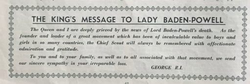 Message of condolence to Lady Baden-Powell from the King and Queen.