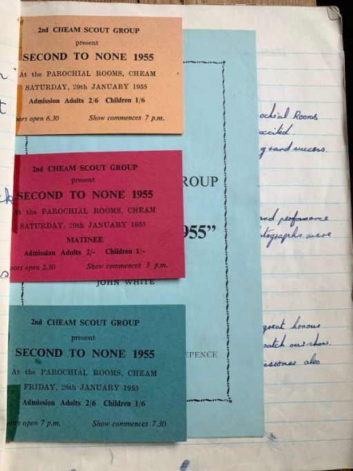 "Tickets to the South Cheam Gang Show ""Second to None"" 1955."