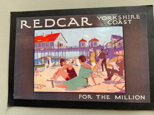 "Old advertising poster for Redcar Yorkshire Coast. ""For the Million""."
