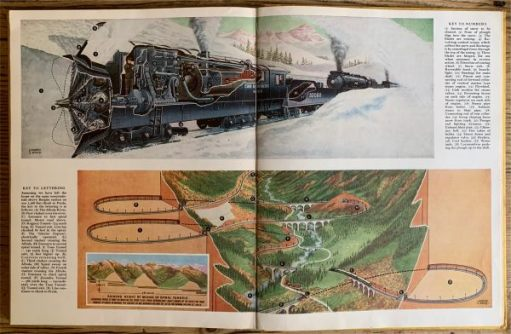 Schoolboys like Bobby loved The Eagle and waited expectantly each week for the new cutaway drawing to see how things worked. Here are just two. The steam engine powered Canadian snowplough. And the amazing spiral tunnel line in Switzerland.