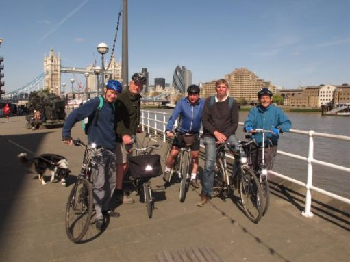 April 2012. Sustrans friends David, Bob, Phil, Peter, Roger. Thames Cycle Route.