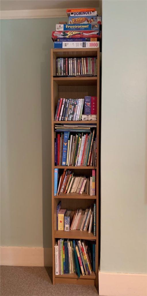 Layla's Library - A tall, narrow bookcase laden with books.
