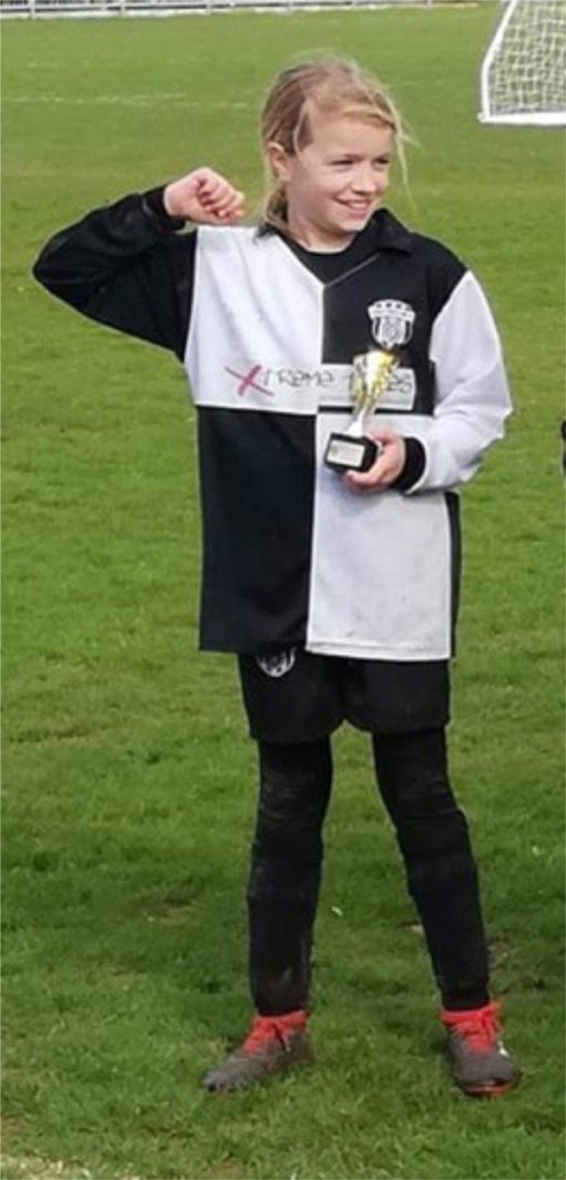 Daisy-Mae, the day she won the cup with East Preston U10.