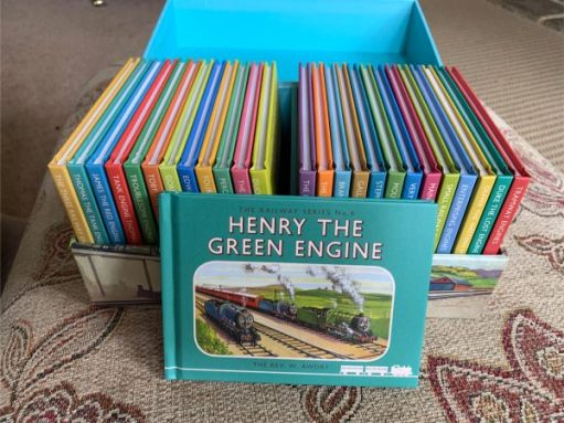 "Bobby's Thomas the Tank Engine Box Set - open, with ""Henry the Green Engine"" standing in front."