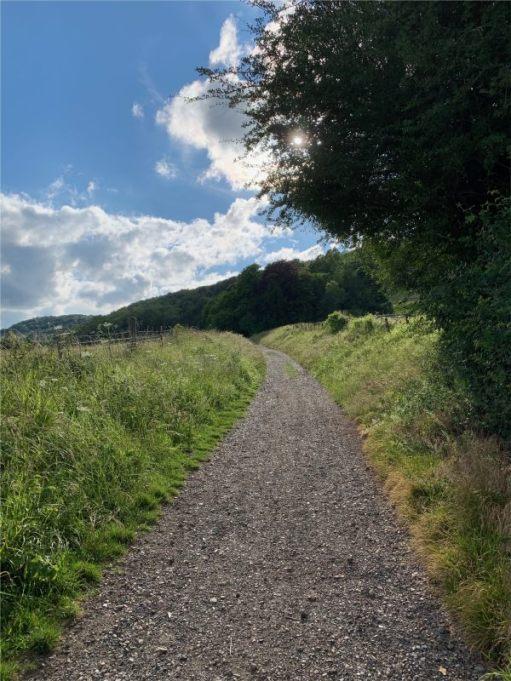 Head west from Landbarn Farm up the carriage road...