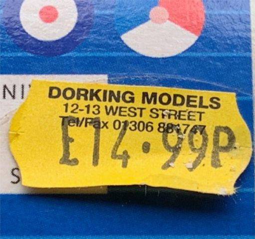 The £14.99 price label on the Tiger Moth Kit.