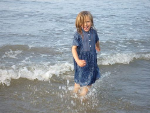 Ayla in the sea at Whitby.