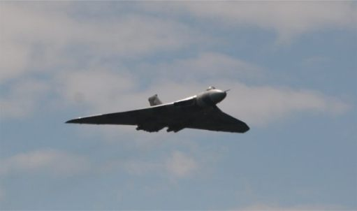 The Vulcan Bomber in the air.